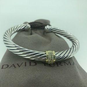 David Yurman 7mm Cable Bracelet, 18k & Diamonds